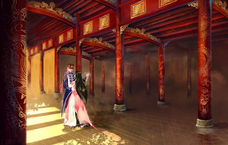 Photo wallpaper girl, dance, pair, male, Palace