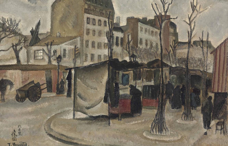 Photo wallpaper trees, people, home, stroller, 1918, Tsuguharu, Fujita, The Paris market