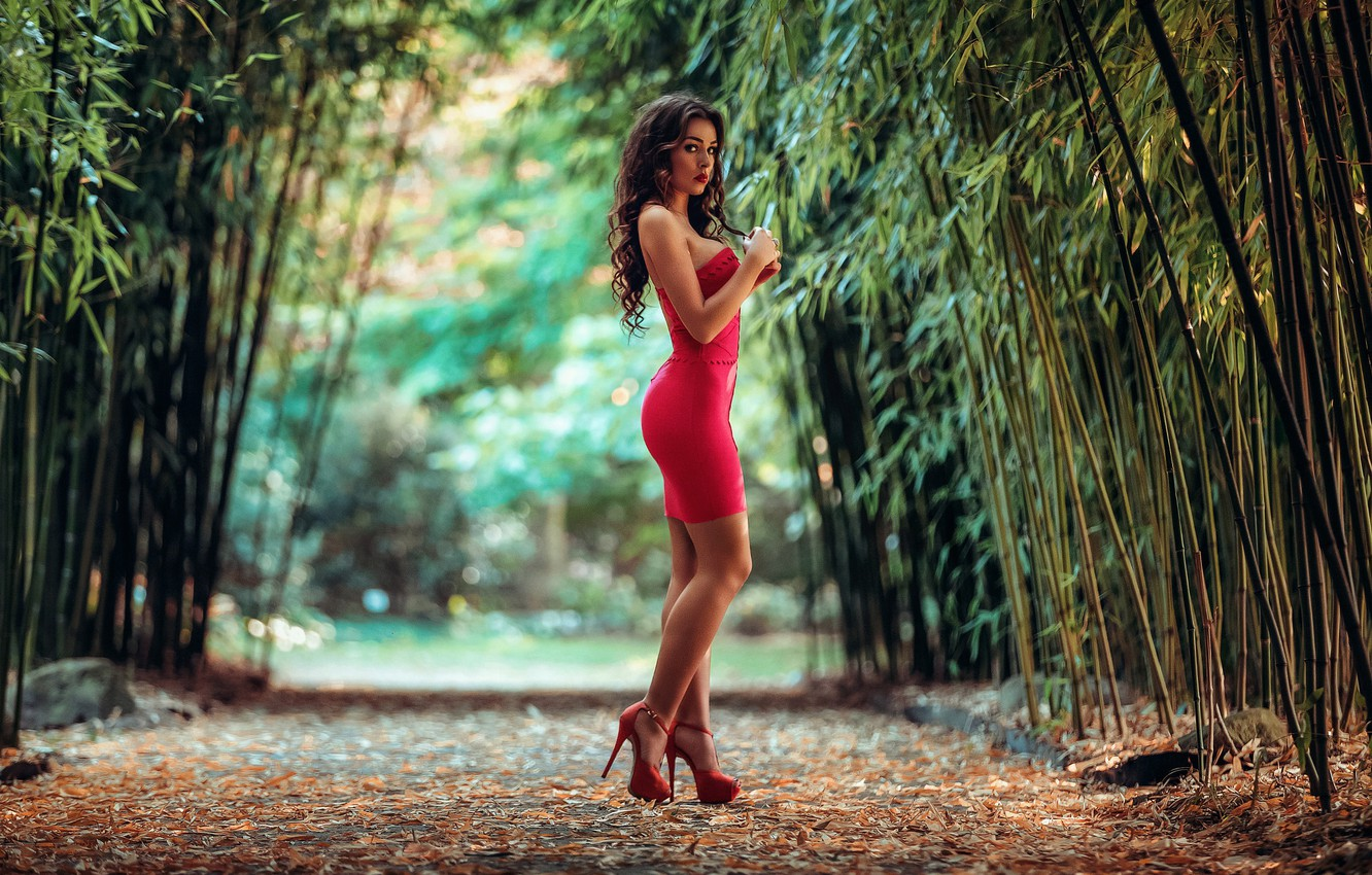 Photo wallpaper leaves, nature, portrait, makeup, figure, slim, dress, brunette, hairstyle, shoes, beauty, is, in red, alley, …