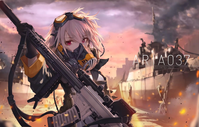 Photo wallpaper girl, weapons, art