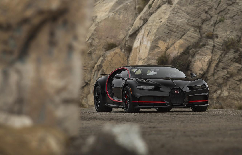 Photo wallpaper Bugatti, Black, RED, V16, Stones, VAG, Chiron