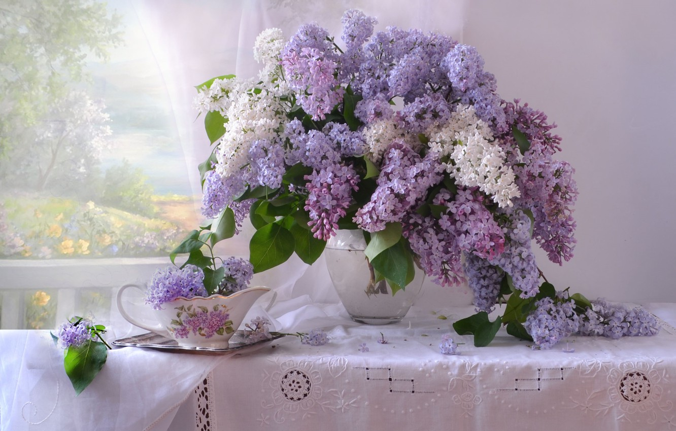 Photo wallpaper bouquet, spring, lilac, tablecloth