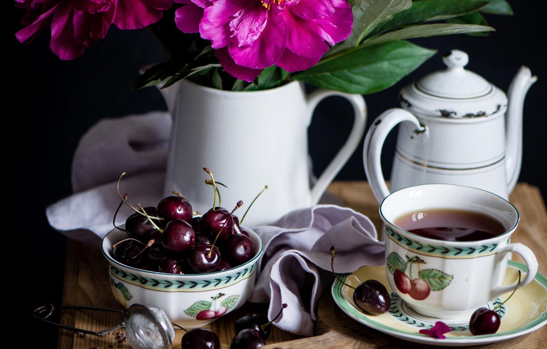 Photo wallpaper tea, cherry, peonies
