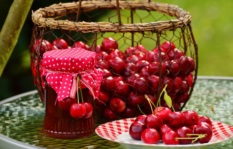 Photo wallpaper red, cherry, berries, table, mesh, basket, the sweetness, food, harvest, plate, Bank, fabric, basket, al, …