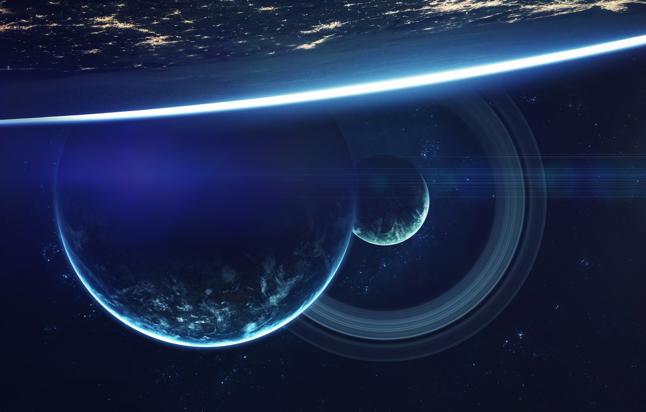Photo wallpaper colors, light, cosmos, planets, Sci fi