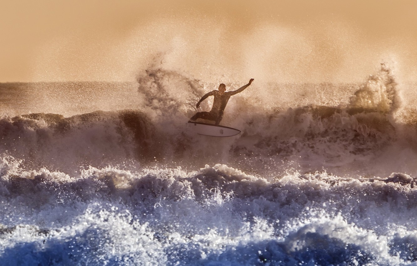 Photo wallpaper sea, wave, sport, surfing