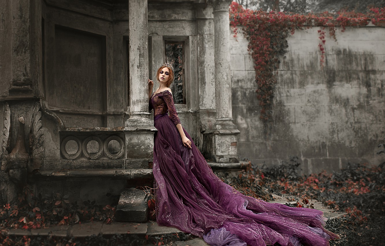 Photo wallpaper girl, pose, style, dress, columns, Damien Prokhorov