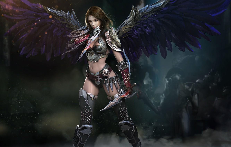 Photo wallpaper look, girl, weapons, armor, Wings