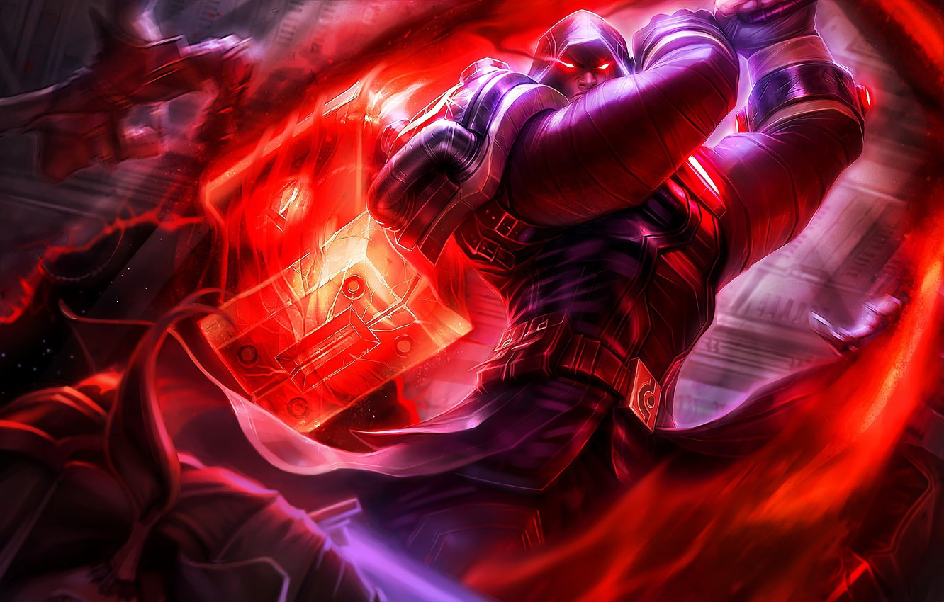 Photo wallpaper The game, Hammer, Hood, Game, League of legends, LoL, Hammer, Hood, League of legends, Riot …