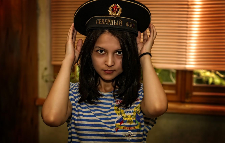 Photo wallpaper girl, military, beautiful, uniform, Navy, Victory day, Emily Rain, Kide Fotoart