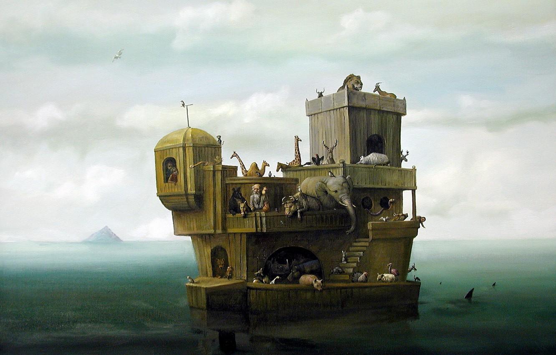 Photo wallpaper sea, animals, children, the old man, sharks, the ark, Surrealism, Lazarev I. A