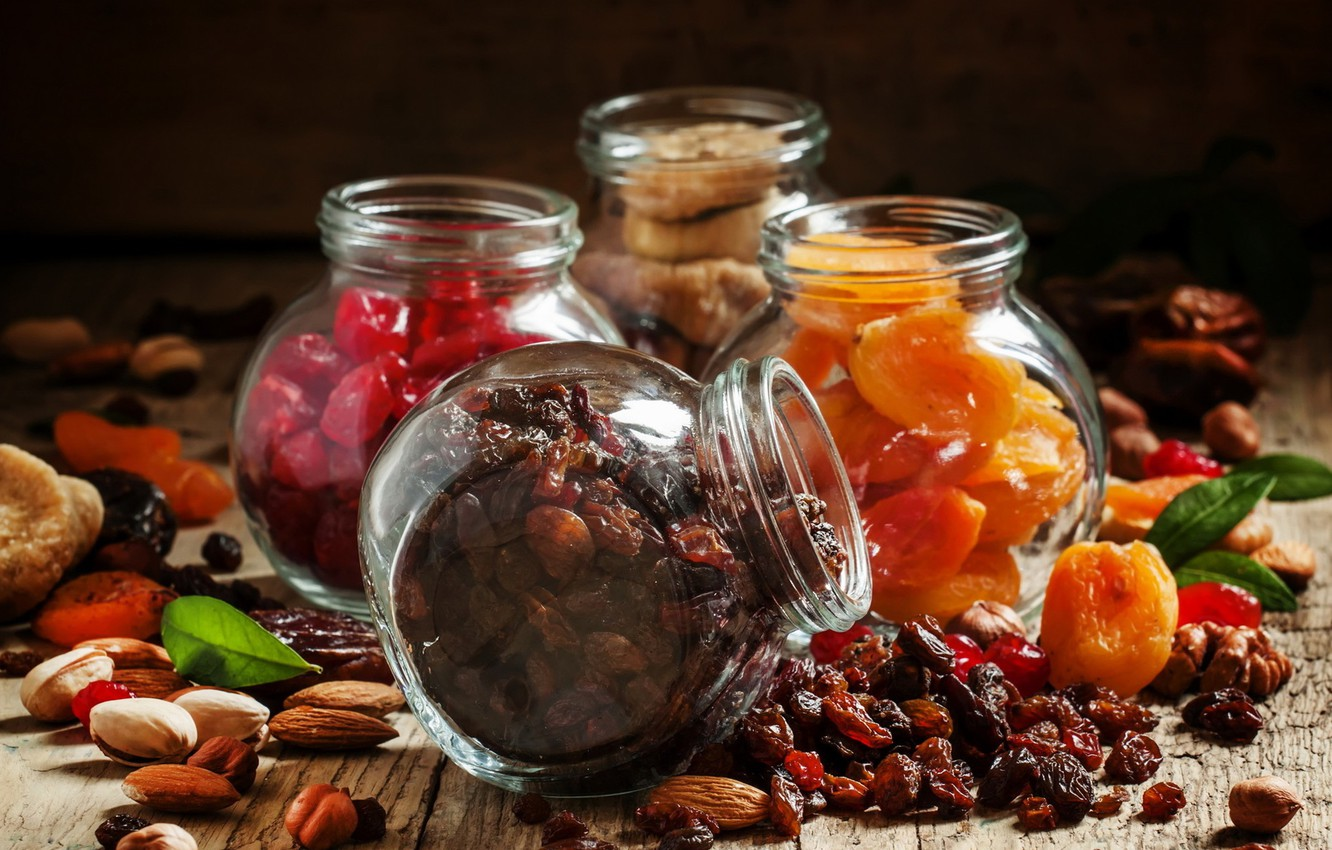 Photo wallpaper food, nuts, almonds, raisins, figs, dried apricots, dried fruits