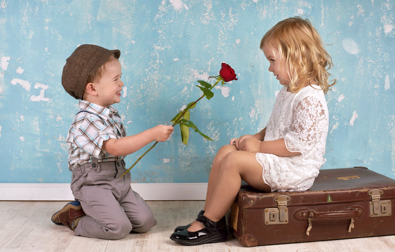 Photo wallpaper surprise, boy, girl, smile, gives rose