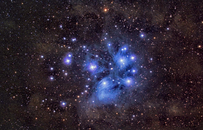 Photo wallpaper space, stars, M45, Pleiades
