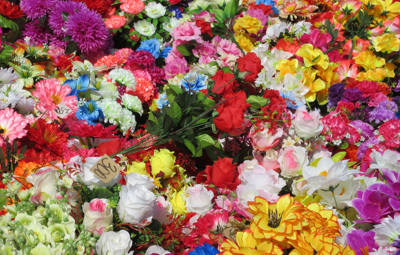 Photo wallpaper a lot, different, artificial flowers, spring 2018, Mamala ©