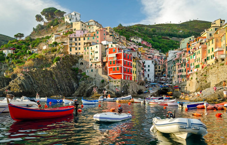Photo wallpaper sea, rocks, coast, Villa, boats, Italy, houses, Riomaggiore, travel