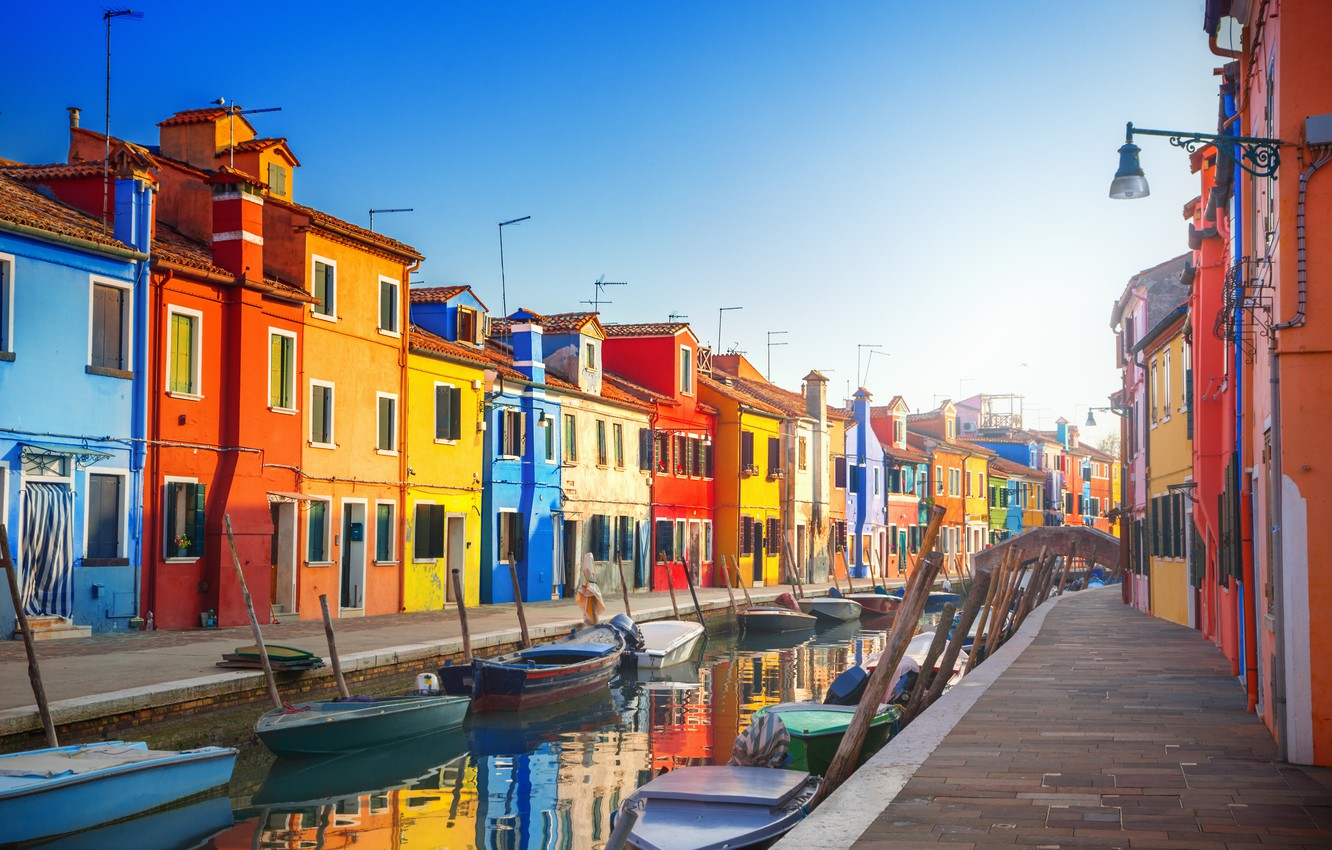 Photo wallpaper city, the city, street, boats, Italy, Venice, channel, Italy, panorama, Europe, view, Venice, cityscape, travel, …