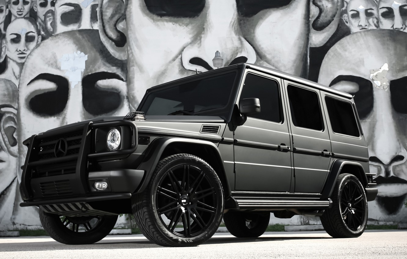 Photo wallpaper Mercedes, black, AMG, G55, with, matte, full, wrap