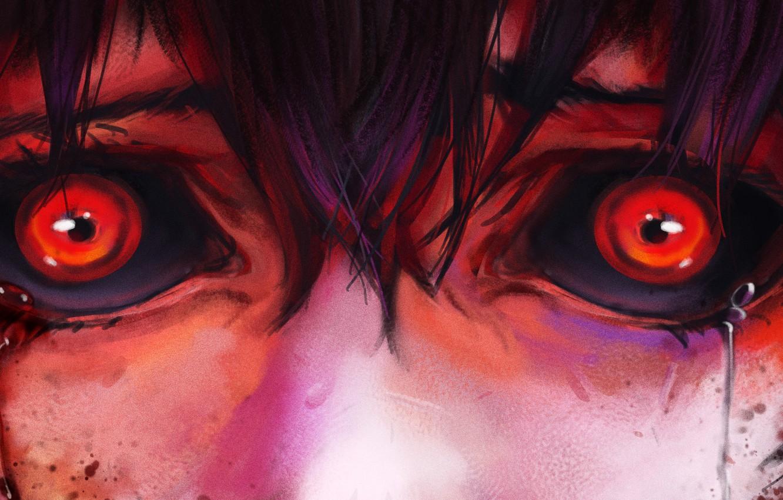 Photo wallpaper fear, horror, pain, red eyes, bloody tears, Tokyo Ghoul, Hinami Fueguchi, Tokyo Monster