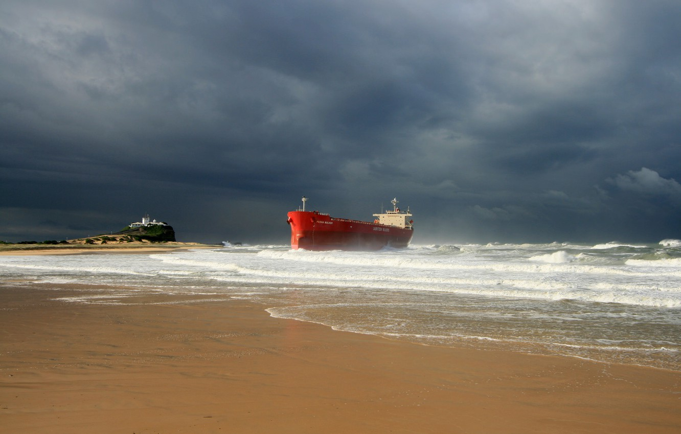Photo wallpaper waves, storm, beach, ocean, seascape, seaside, ship, lighthouse, cloudy, troubled sea, shipwrecked