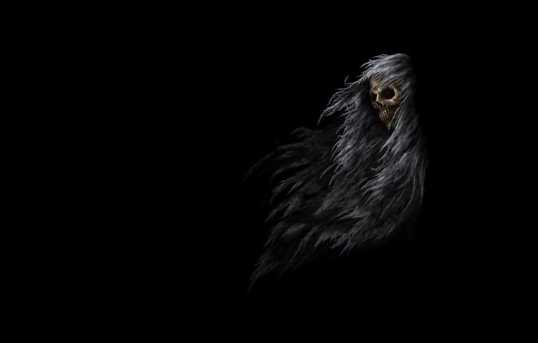 Photo wallpaper the darkness, skull, art, Sawan, rags