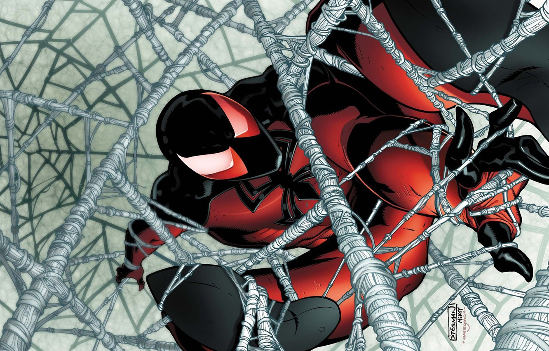 Photo wallpaper Web, comic, spider man, Marvel Comics, Clone, Scarlet spider, Cain