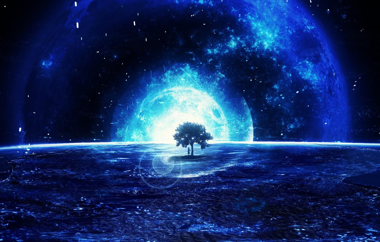 Photo wallpaper space, tree, fantasy, Y_Y