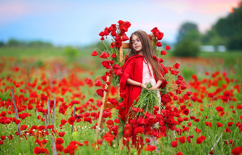 Photo wallpaper flowers, nature, Maki, girl