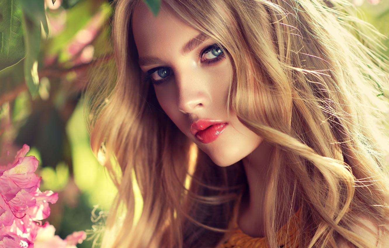 Photo wallpaper look, girl, makeup, Girl, hairstyle, blonde, flowers, make up