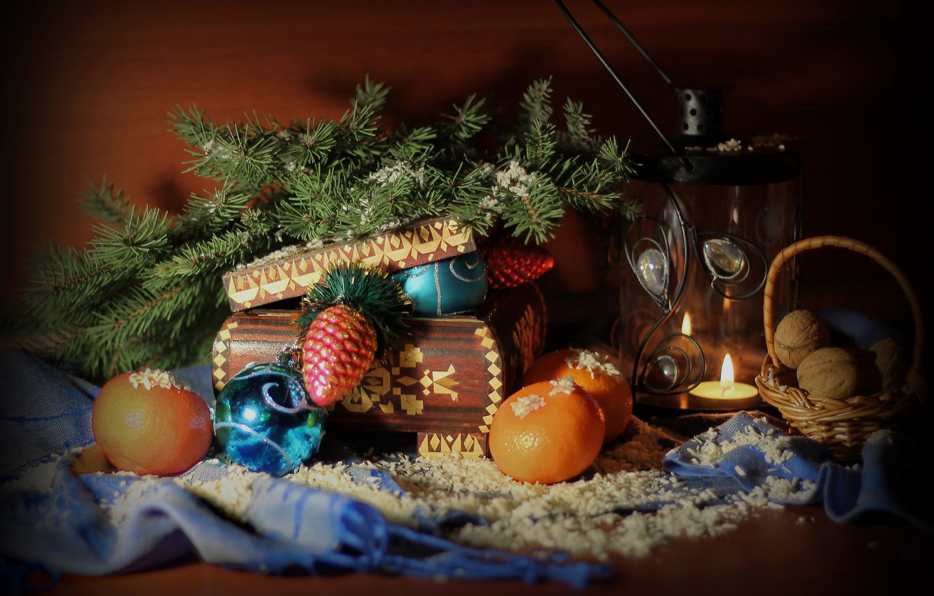 Photo wallpaper winter, snow, holiday, tree, new year, Christmas, lantern, box, decoration, still life, December, composition, tangerines