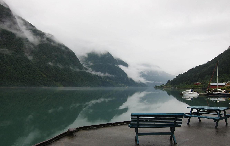 Photo wallpaper mountains, lake, pier, Norway, haze, Norway, the fjord, Sogn and Fjordane, Fjaerland