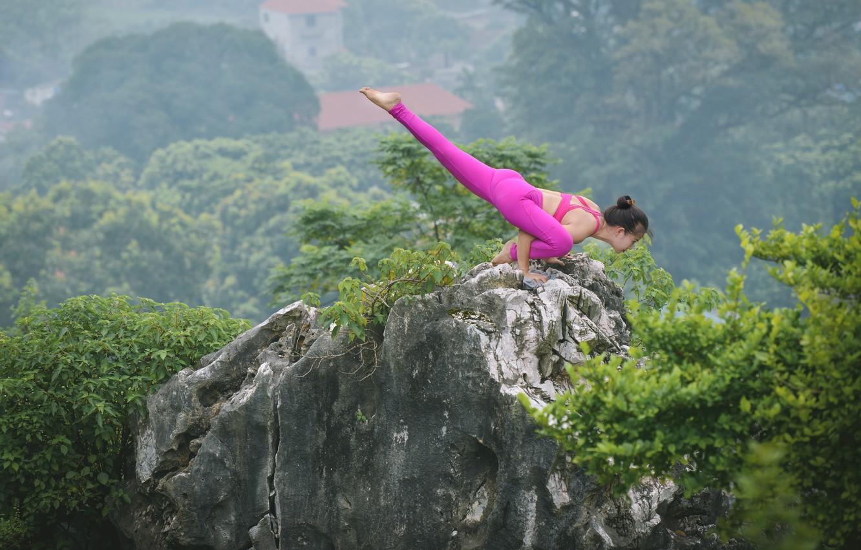 Photo wallpaper girl, nature, pose, background, gymnastics, yoga, harmony