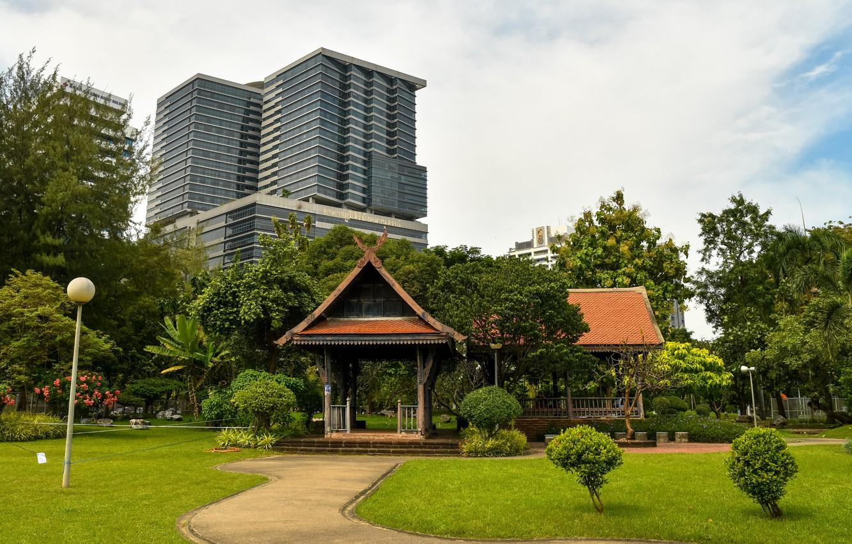 Photo wallpaper greens, the sky, grass, clouds, trees, Park, lawn, home, track, Thailand, Bangkok, gazebo
