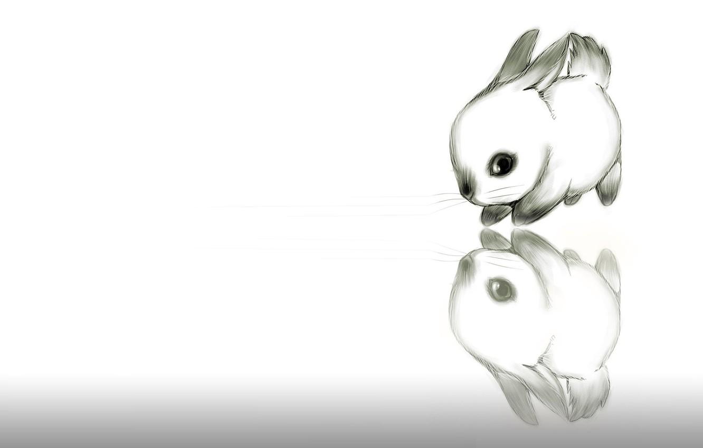 Photo wallpaper figure, rabbit, baby, art, pencil, Bunny, picture, ears, children's