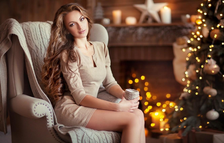 Photo wallpaper girl, lights, house, heat, room, tree, new year, Olga Boyko