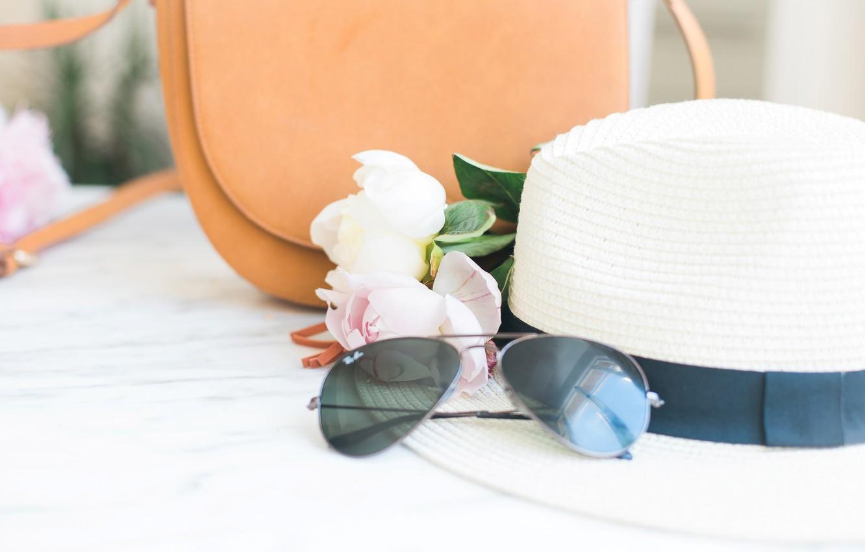 Photo wallpaper flowers, bouquet, hat, glasses, bag, pink, flowers, peonies, peonies, tender, marble
