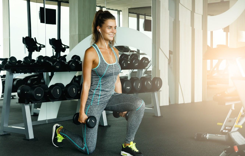 Photo wallpaper Sport, Dumbbells, exercise, classes, Girl, Fitness room