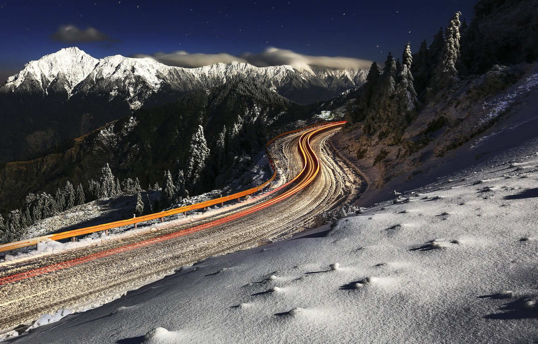 Photo wallpaper winter, road, mountains, lights