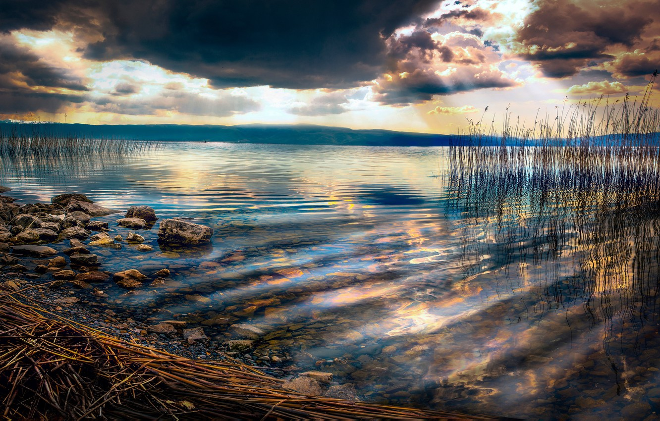 Photo wallpaper the sky, clouds, clouds, lake, the reeds, stones, shore, Macedonia, Ohrid Lake