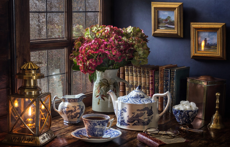 Photo wallpaper flowers, style, rain, tea, books, lamp, bouquet, kettle, window, glasses, lantern, Cup, pictures, sugar, still …