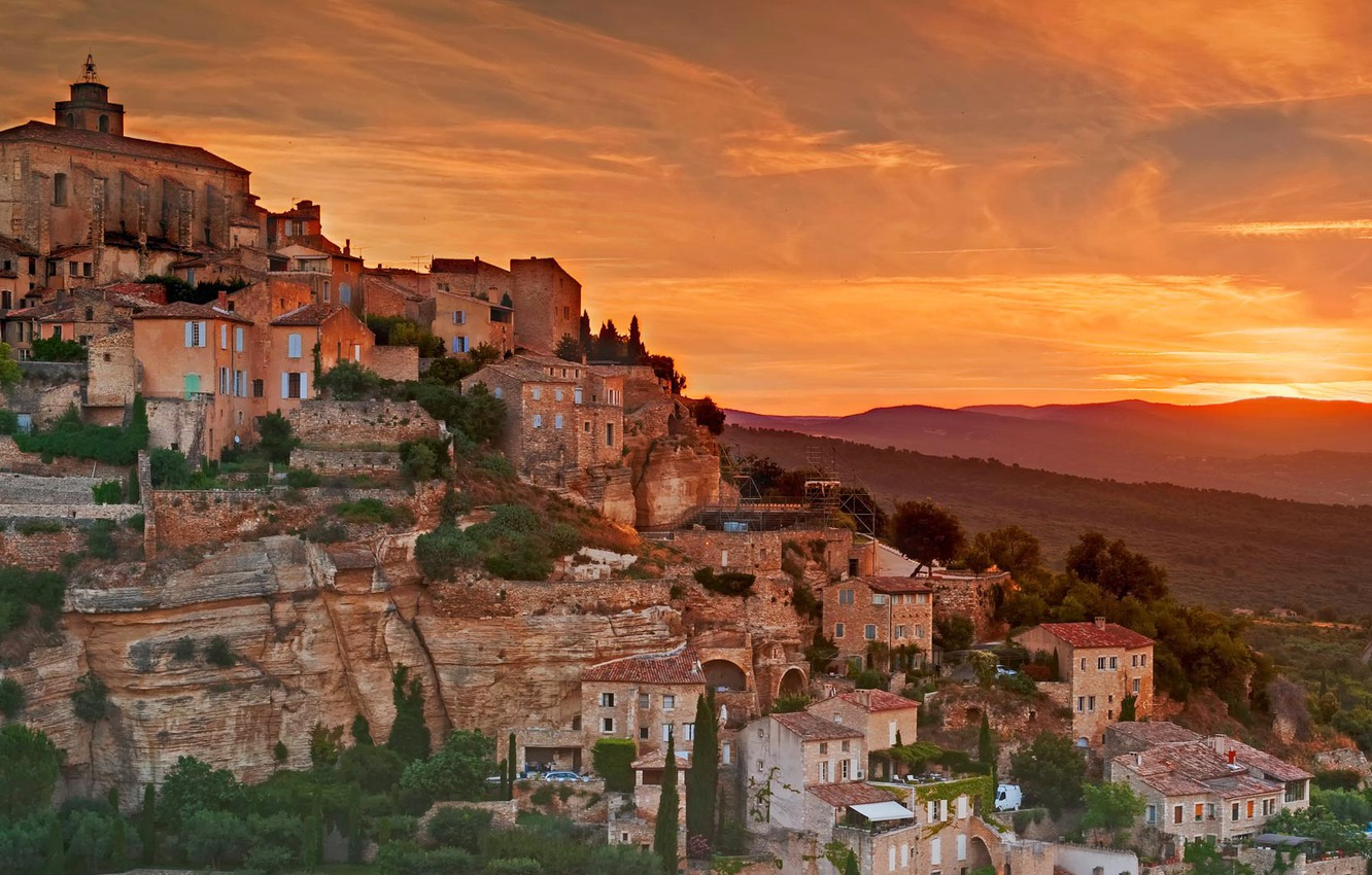 Wallpaper Mountains France Home Slope Glow Provence