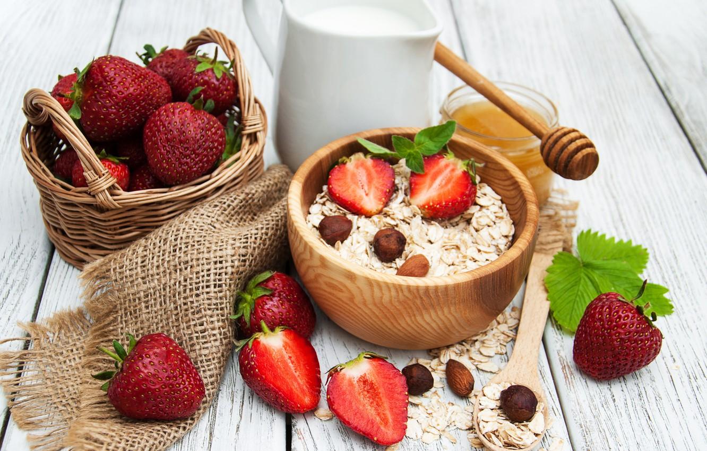 Photo wallpaper berries, Breakfast, strawberry, breakfast, milk, muesli, muesli, fresh berries