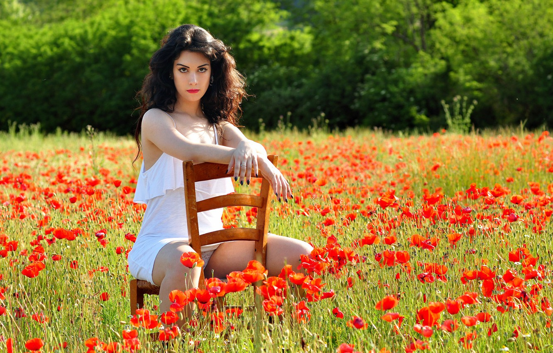 Photo wallpaper field, girl, flowers, pose, Maki, chair, brown hair