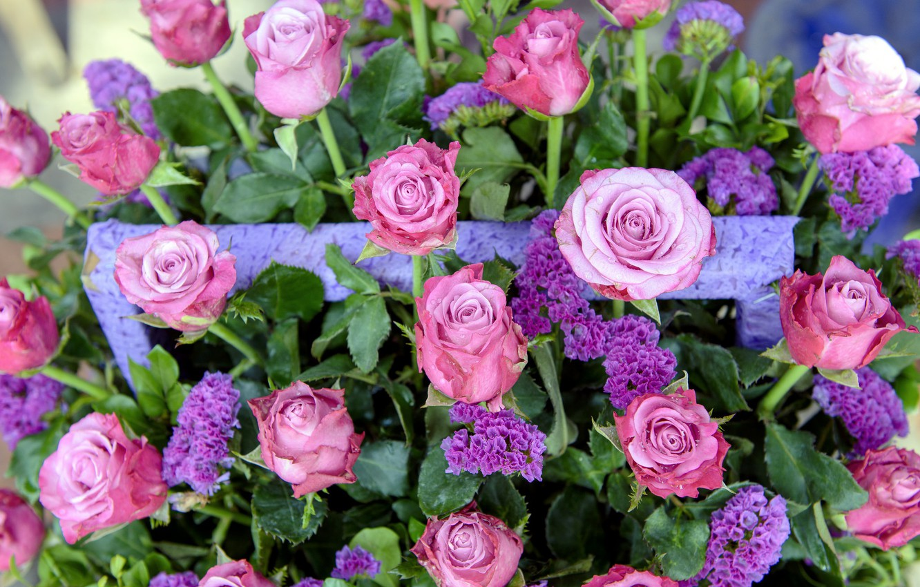 Photo wallpaper flowers, bouquet, Roses, buds