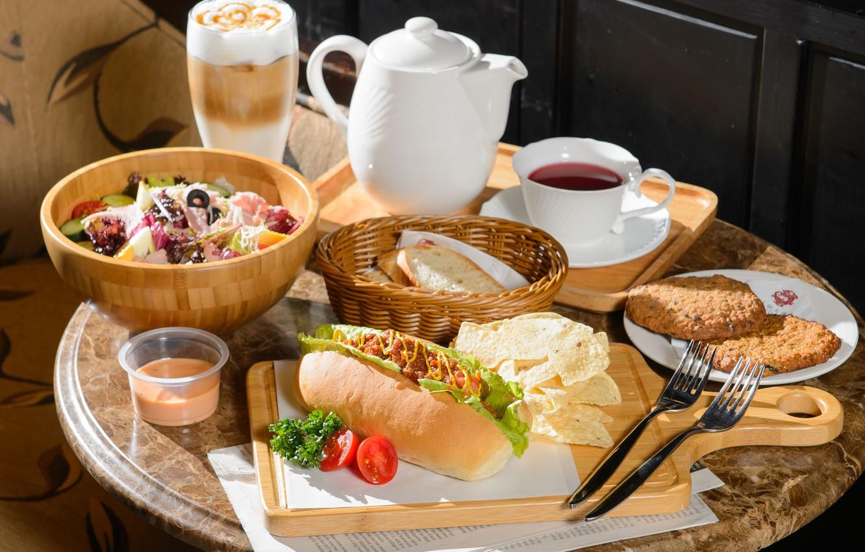 Photo wallpaper tea, coffee, sauce, hot dog, salad, cuts