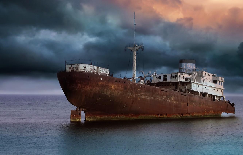 Photo wallpaper sea, the sky, ship