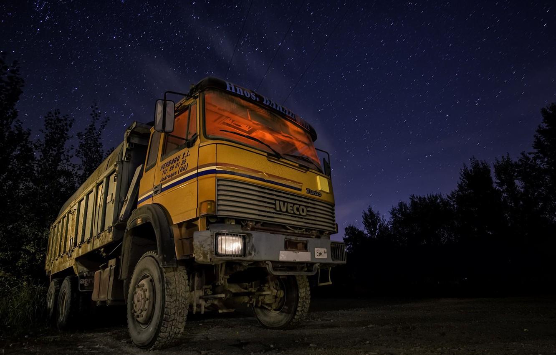 Photo wallpaper machine, night, dump truck