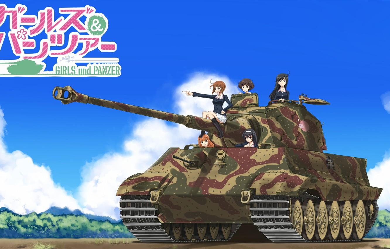 Photo wallpaper kawaii, girl, weapon, anime, cute, tank, japanese, Girls and Panzer, seifuku, kanji