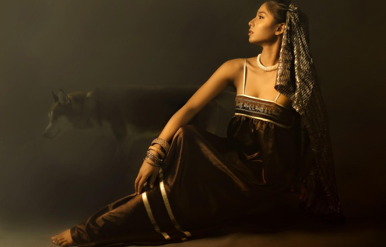 Photo wallpaper girl, face, pose, the dark background, dog, costume, Asian, sitting, bracelets, sundress