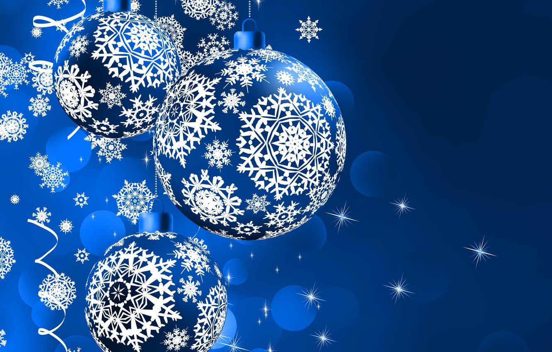 Photo wallpaper Blue, New Year, Balls, Snowflakes, Holidays